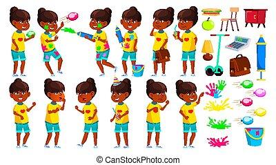 Indian Girl Poses Set Vector. Primary School Child. Teenage. Spring Holi Festival. Hindu. Asian. For Web, Brochure, Poster Design. Isolated Cartoon Illustration