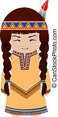 Indian girl. Redskin.