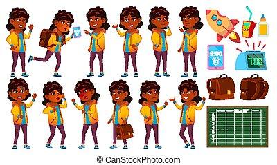Indian Girl Set Vector. Primary School Child. University, Graduate. Hindu. Asian. For Presentation, Invitation, Card Design. Isolated Cartoon Illustration