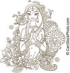 Indian girl surrounded with flowers and ornaments. Vector...