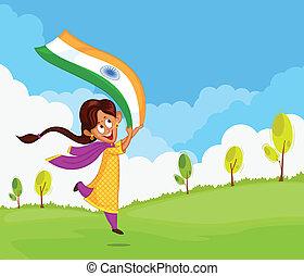 Indian girl waving flag of India