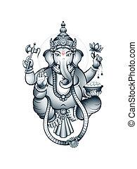 Indian God Ganesha - Hindu elephant-head deity Ganesha, the...