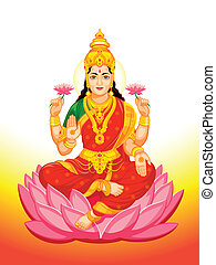 Indian Goddess Lakshmi - Hindu Goddess Lakshmi of wealth,...