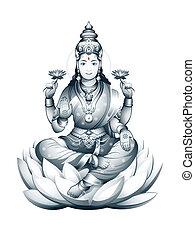 Indian Goddess Lakshmi - Hindu Goddess Lakshmi of wealth,...