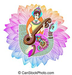 Indian goddess Saraswati playing on veena astride a swan