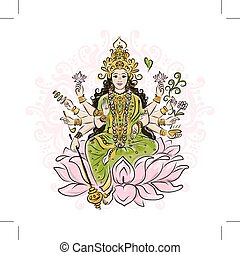 Indian goddess Shakti, sketch for your design. Vector...