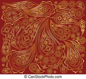 Indian gold pattern on a red background. Vector