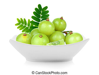 Indian gooseberry in a bowl isolated on white background