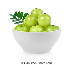 Indian gooseberry in a bowl on white background
