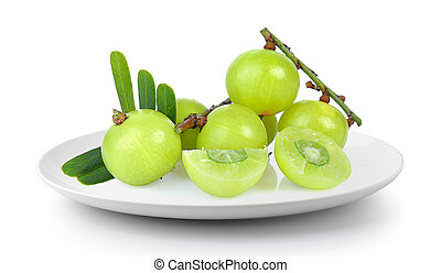 Indian gooseberry in a plate isolated on a white background