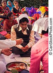 Indian groom doing marriage rituals