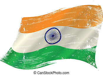 Indian grunge flag grunge flag - flag of India in the wind ...