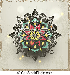Indian grunge Ornament with sparkles and real shadow. Vector...