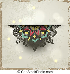Indian grunge Ornament with sparkles and real shadow. Vector illustration for your business presentation