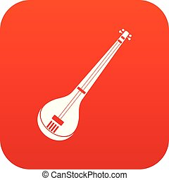 Indian guitar icon digital red