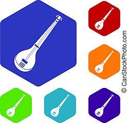 Indian guitar icons set hexagon