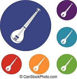 Indian guitar icons set