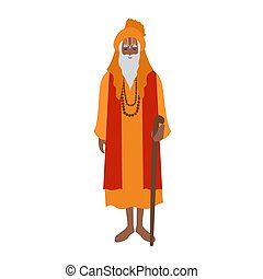 Indian guru wearing turban and traditional clothes, holding...
