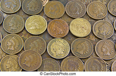Indian Head Pennies - Pennies- Pile of United State Indian ...