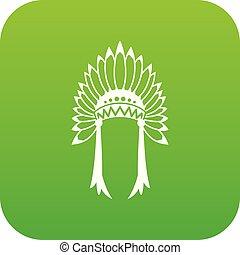 Indian headdress icon digital green