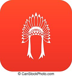Indian headdress icon digital red for any design isolated on...