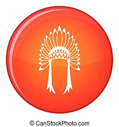 Indian headdress icon, flat style - Indian headdress icon in...