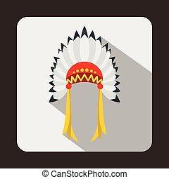 Indian headdress icon, flat style - Indian headdress icon in...