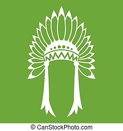 Indian headdress icon green - Indian headdress icon white...