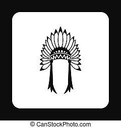 Indian headdress icon, simple style - Indian headdress icon...