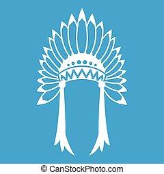 Indian headdress icon white isolated on blue background ...