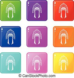 Indian headdress icons 9 set