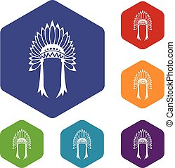 Indian headdress icons set
