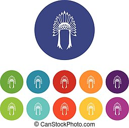 Indian headdress set icons