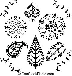 Indian Henna Design Elements - Black and White Indian Henna...