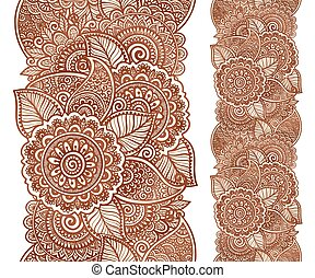 Indian henna tattoo style vector floral vertical seamless pattern