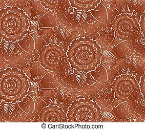 Indian henna tattoo style vector seamless pattern