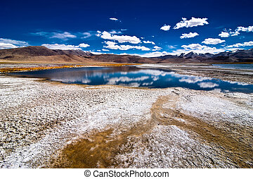 Himalaya high mountain landscape panorama with salt lake Tso Kar under blue sky. India, Ladakh, altitude 4600 m