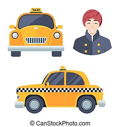 Indian hindu taxi car driver icon set