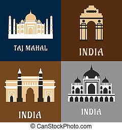 Indian historical and landmark flat icons