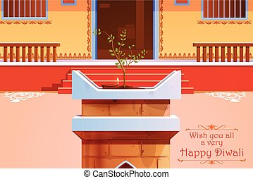 Indian house decorated with diya in Diwali night - vector...