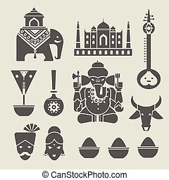 Indian icons - Vector set of indian travel icons