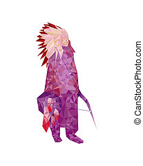 Indian in low-poly style on white background