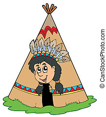 Indian in small tepee - vector illustration.