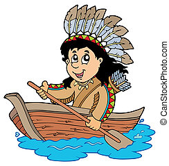 Indian in wooden boat - vector illustration.