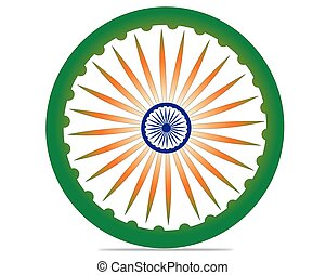 Indian Independence Day concept with 3D Ashoka wheel on national flag colors background and text 15 August.