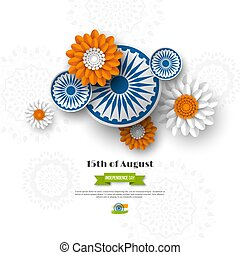 Indian Independence day holiday design. 3d wheels with flowers in traditional tricolor of indian flag. Paper cut style. White background, vector illustration.