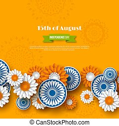 Indian Independence day holiday design. 3d wheels with flowers in traditional tricolor of indian flag. Paper cut style. Orange background, vector illustration.