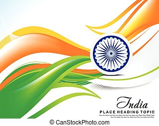 Indian Independence Day Wave Abstract Background vector illustration