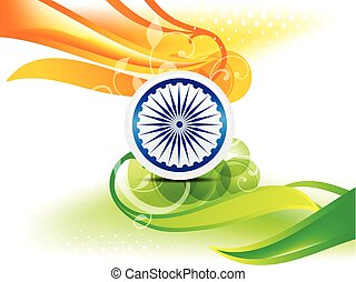 Indian Independence Day Wave Abstract Background With Bubble