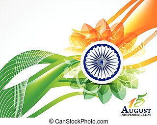 Indian Independence Day Wave Abstract Background With Flower